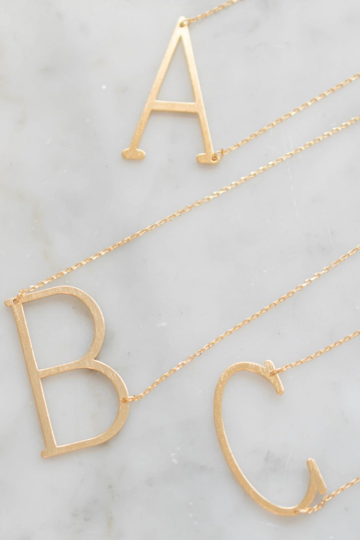 Large Matte Initial Necklace (Gold Tone Metal)