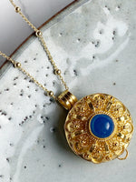 Round Blue Agate Wishing Locket