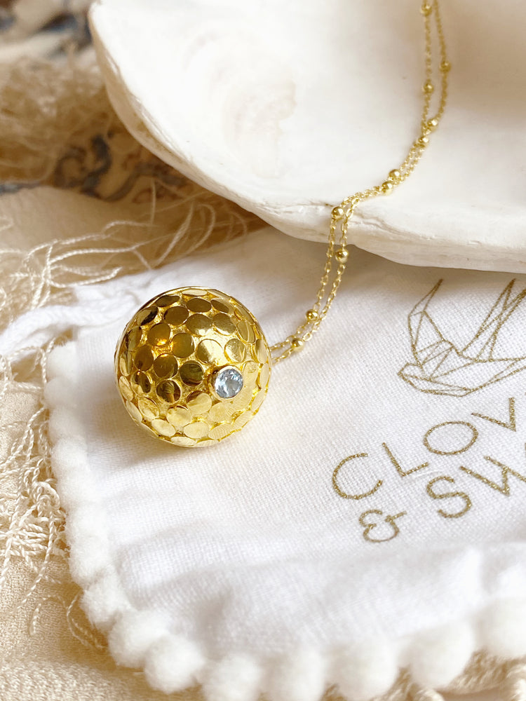 Blue Topaz Dewi Dot Harmony Ball Necklace