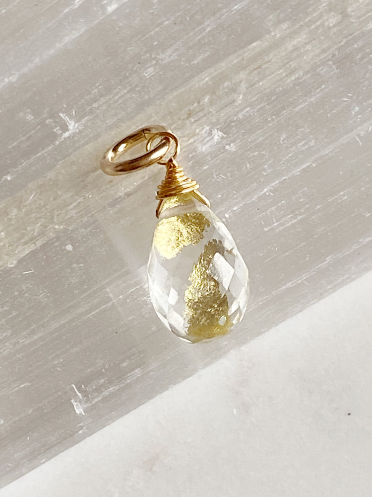 Crystal Quartz Gold Flake Charm