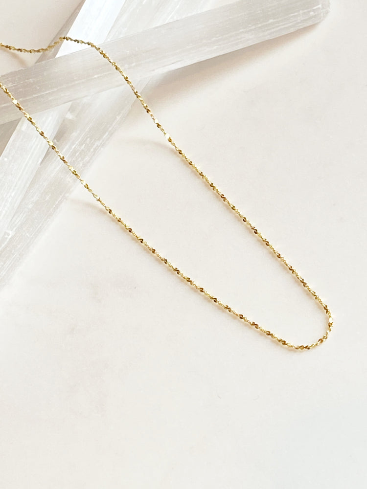 Gold Vermeil Sparkly Diamond Cut Necklace