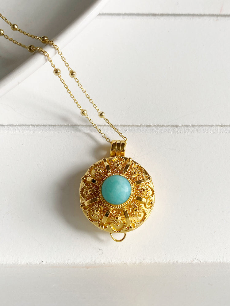 Round Amazonite Wishing Locket