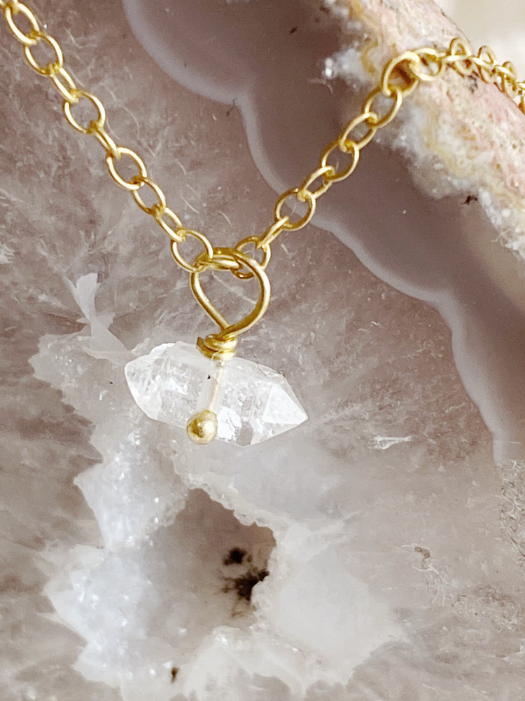 Delicate Herkimer Diamond Necklace