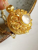 Round Moonstone Wishing Locket