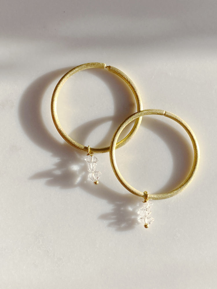 3 Herkimer Diamond Hoops- small