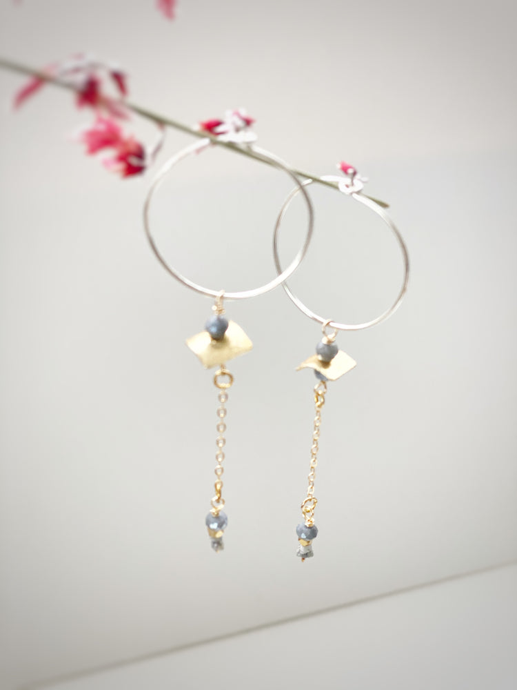Diamond Nugget and Grey Moonstone Drop Hoops