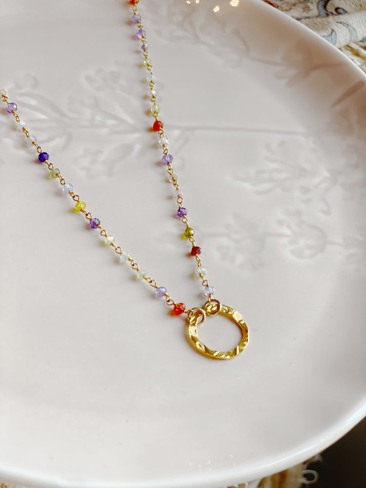Tourmaline Rosary Chain Necklace