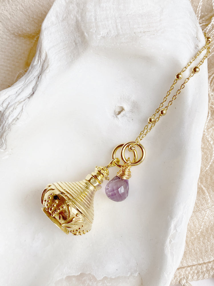 Amethyst Drop Perfume Bottle Necklace