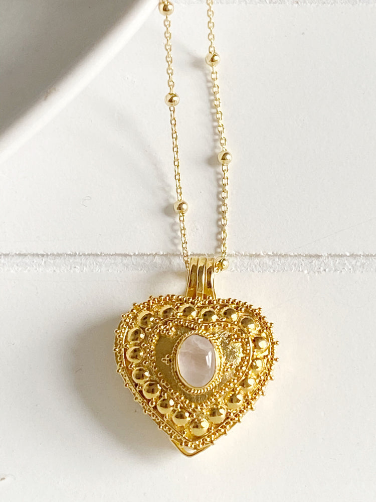 Rose Quartz Heart Wishing Locket
