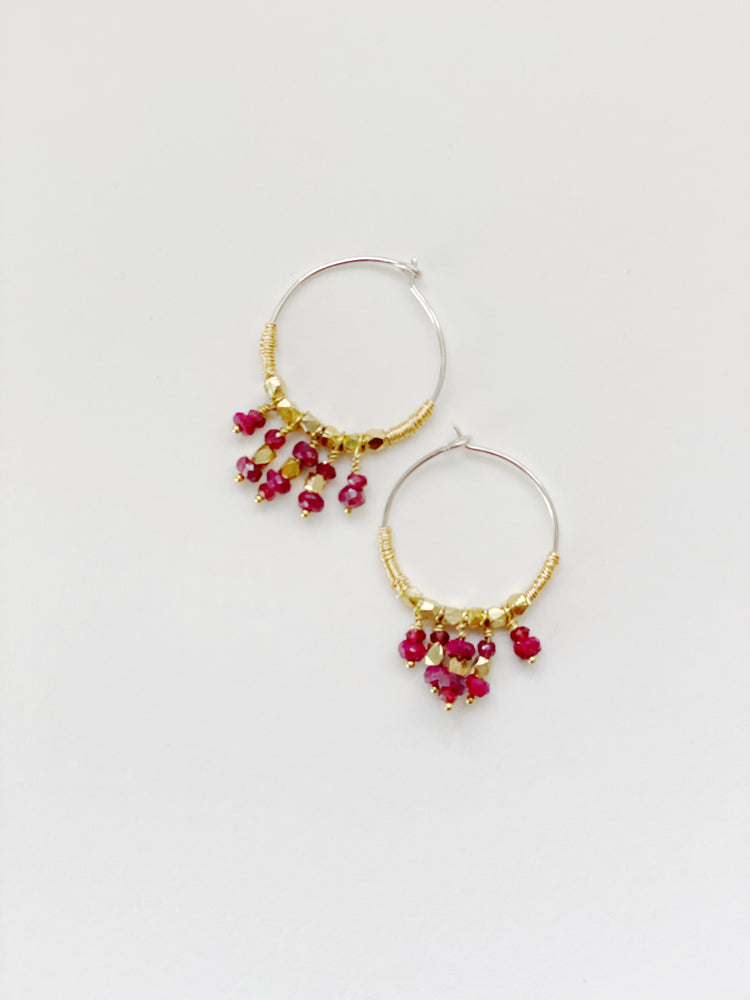 Ruby Beaded Hoops