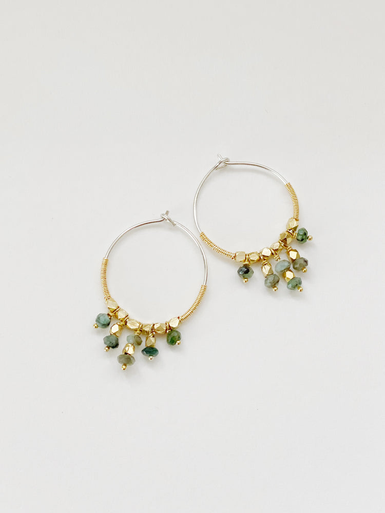 Emerald Beaded Hoops