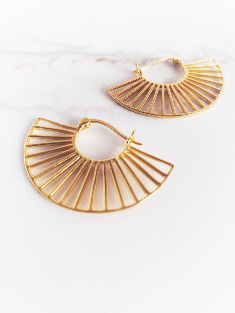 Georgia Half Moon Art Deco Hoop Earring