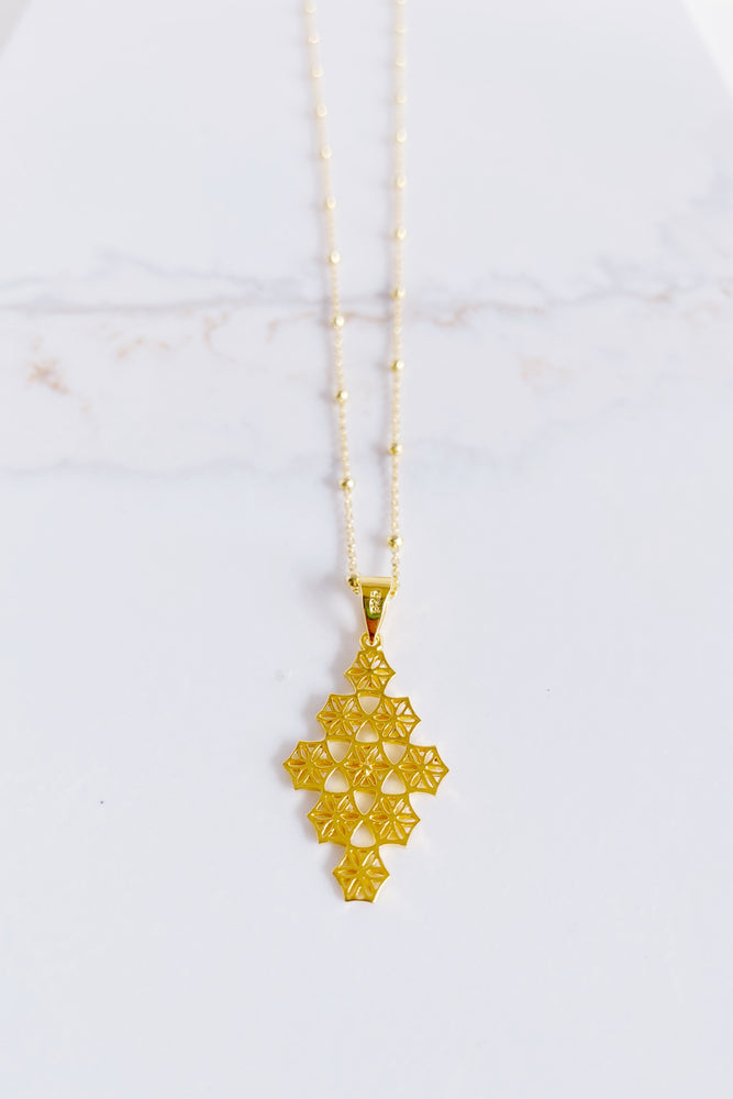 Emmy Diamond Drop Flower Necklace