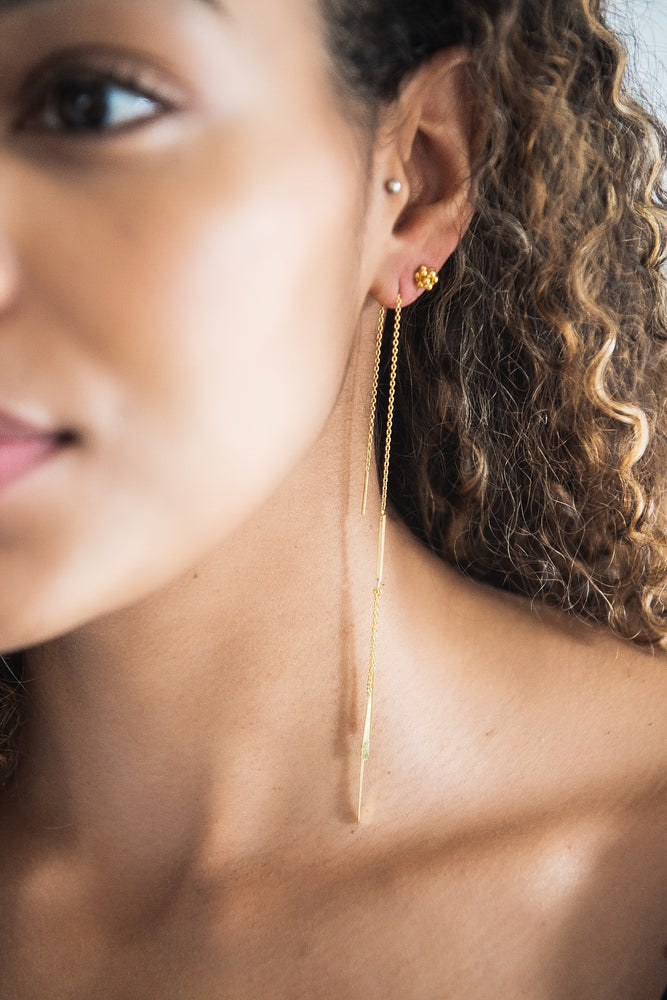 Aretha Long Gold Feathered Threader Earring