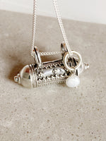 Sterling Silver Cora Wishing Locket with Pearl Drop