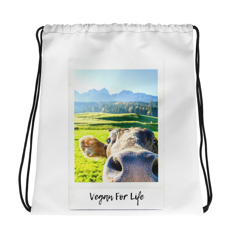 Vegan For Life | Cow Drawstring bag