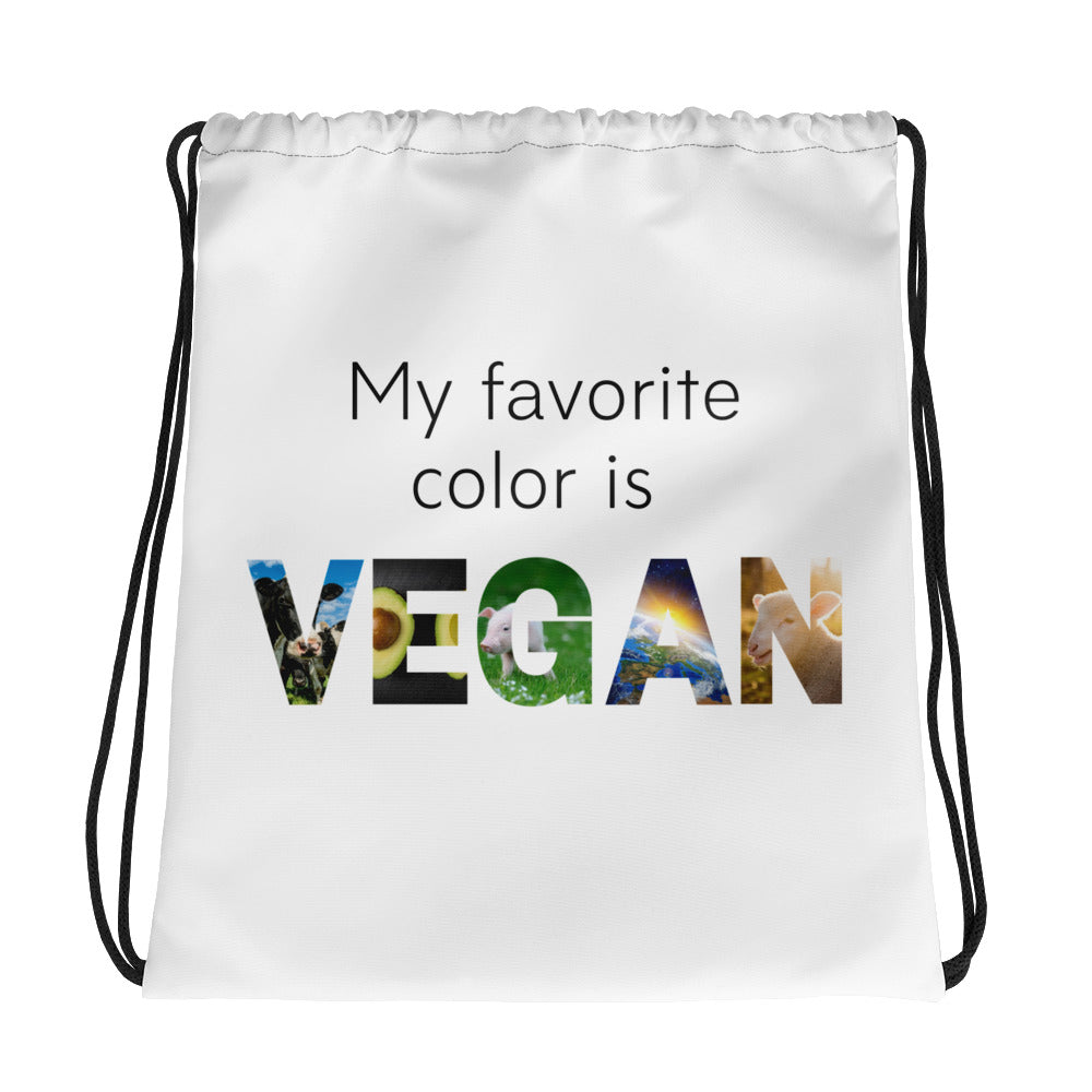 My Color is Vegan. Drawstring bag