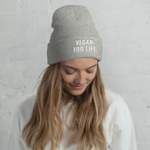 Load image into Gallery viewer, VEGAN FOR LIFE. Cuffed Beanie