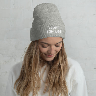 VEGAN FOR LIFE. Cuffed Beanie