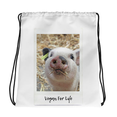 Vegan for Life | Piglet Drawstring bag