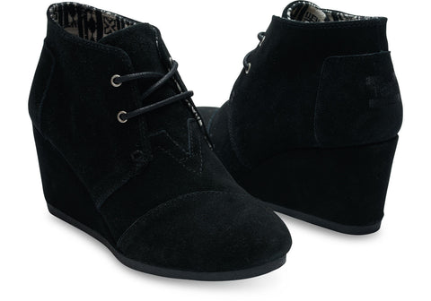 TOMS - Black Suede Lace up Wedge