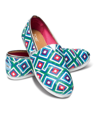 TOMS - Youth Green Tribal Glitter