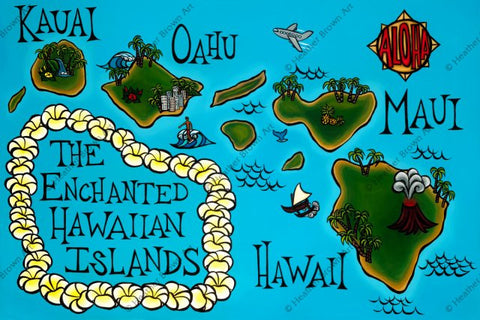 Heather Brown Art - Hawai'i Map 11x 14