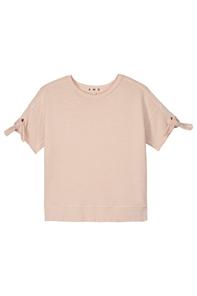 Shoulder Tie Sweatshirt Pink