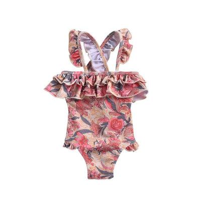 Pink Flowers Bathing Suit - Child