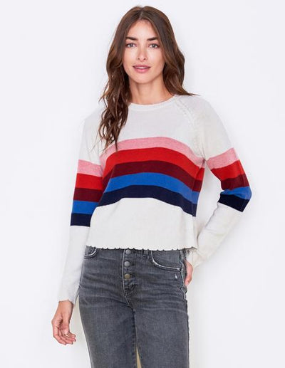 Cream And Multi Stripe Sweater