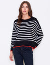 Loose Knit Black & Cream Stripe Sweater