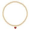 Red Heart Charm 4 mm Gold Ball Bracelet