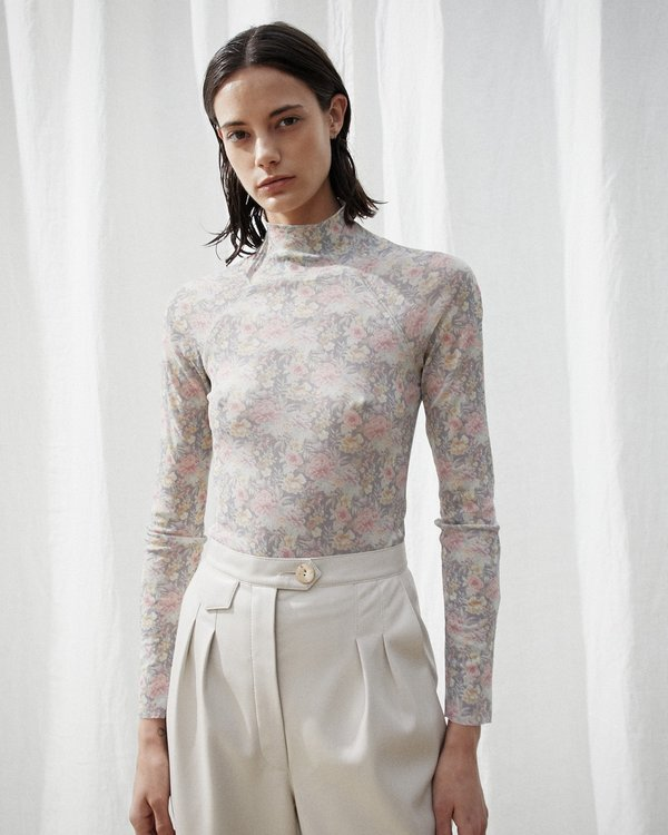 Sheer Floral Turtleneck