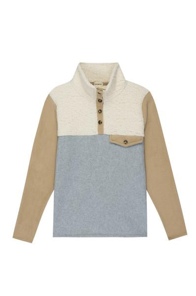 Tri Fleece Pullover - Camel/Grey/Sand