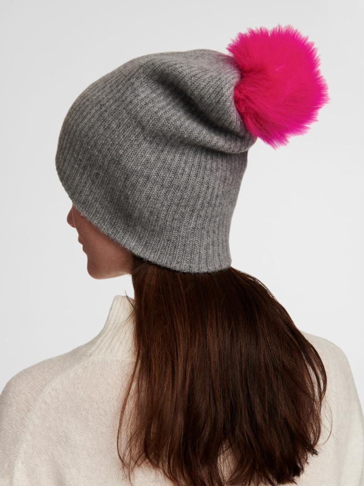 PLUSH RIB BEANIE WITH FAUX POM POM