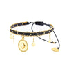 Black Chainy Row Charm Bracelet