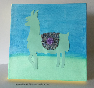 Mixed Media Art - Green Llama