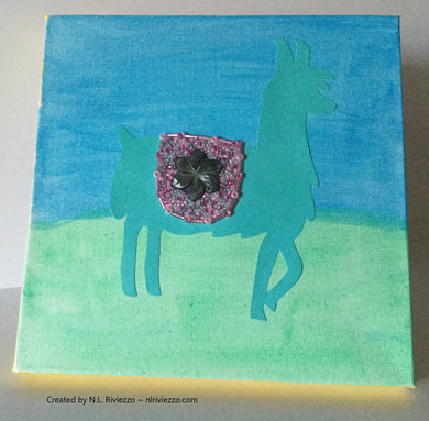Mixed Media Art - Turquoise Llama