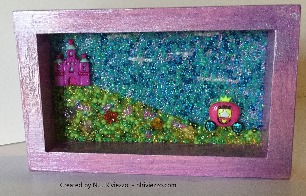 Mixed Media Art - Purple Castle & Carriage