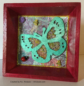 Mixed Media Art - Green Butterfly