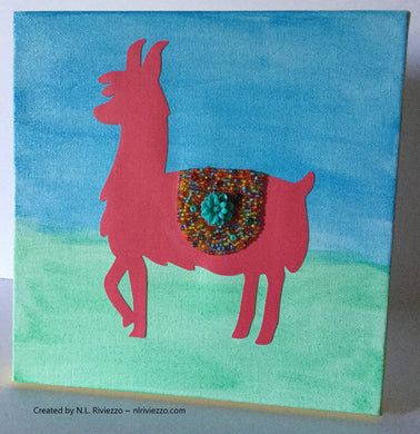 Mixed Media Art - Red Llama