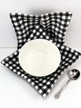 Load image into Gallery viewer, Bowl Cozies - Black and White Tablecloth Check