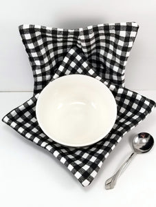 Bowl Cozies - Black and White Tablecloth Check