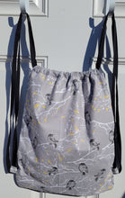 Load image into Gallery viewer, Cotton Drawstring Tote - Black Birds