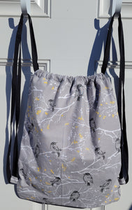 Cotton Drawstring Backpack - Black Birds