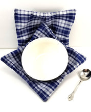 Load image into Gallery viewer, Bowl Cozies - Blue Plaid