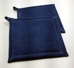 Pot Holders - Navy blue with Flowers