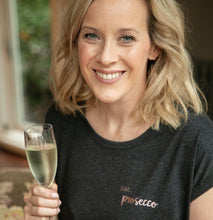 Load image into Gallery viewer, Just... prosecco -  Women's T-Shirt with cool capped sleeves in DARK GREY
