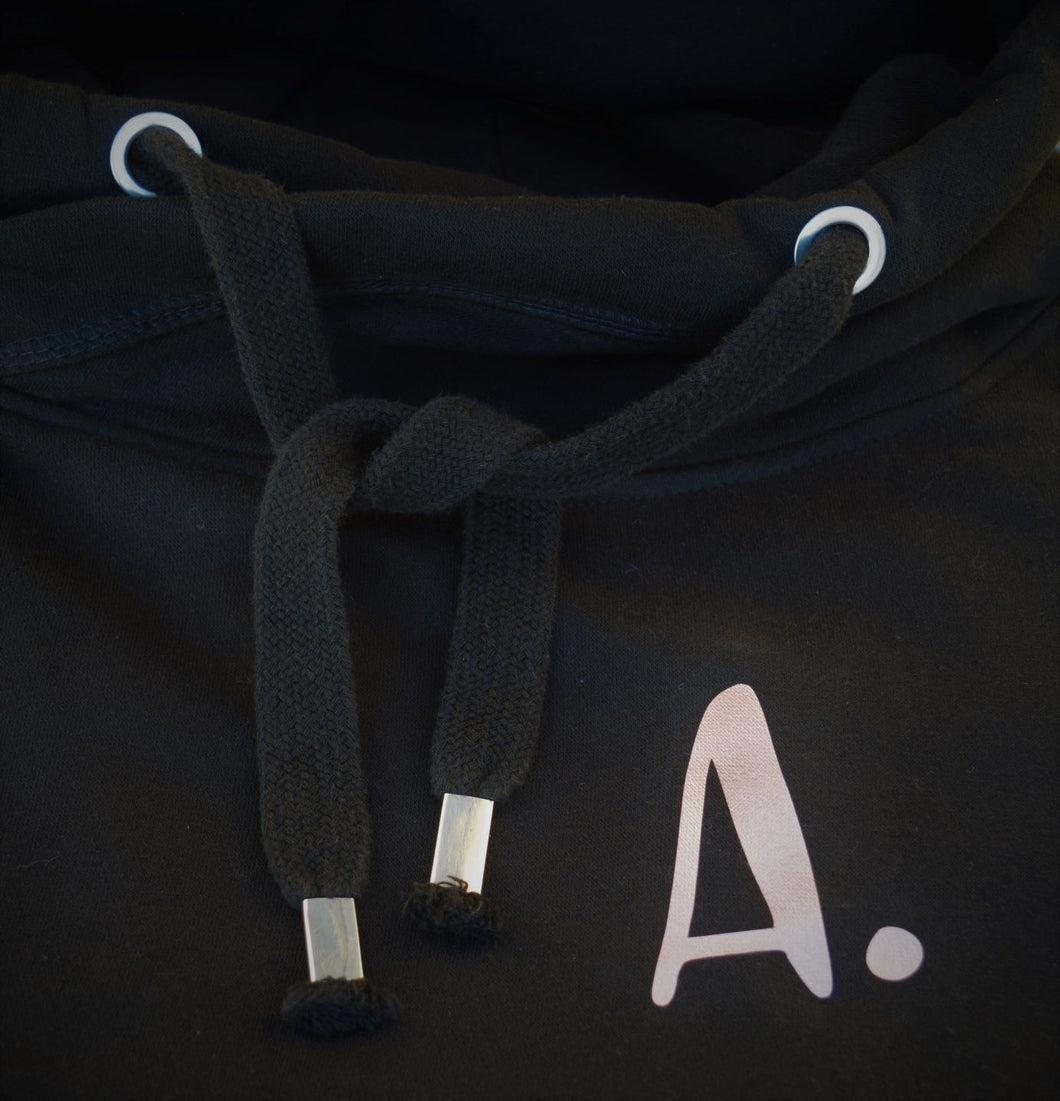 The ultimate BLACK hoodie with personalised initial. Unisex