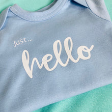 Load image into Gallery viewer, Just... milk/hello - Organic Baby Vest Long Sleeves with Personalisation- VARIOUS COLOURS
